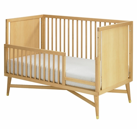 Mid-Century Convertible Crib in Natural