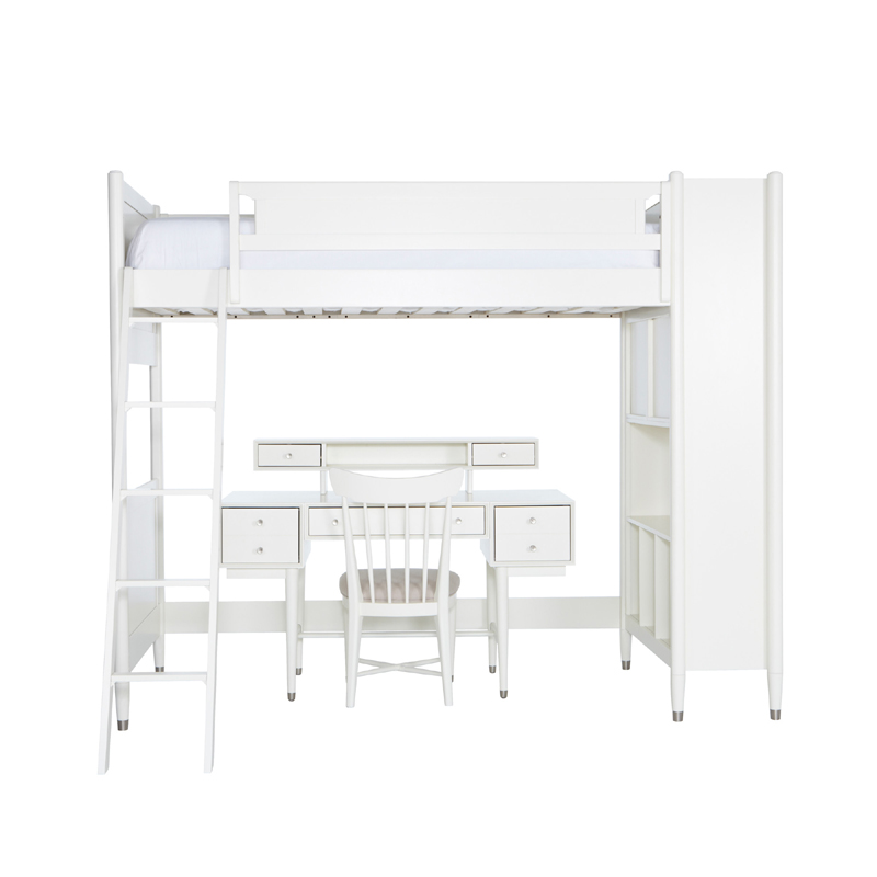 Mid-Century Library Twin Bunk Bed In French White By
