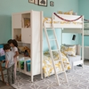 Mid-Century Library Twin Bunk Bed in French White
