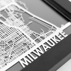 Milwaukee Stainless Steel Framed Map