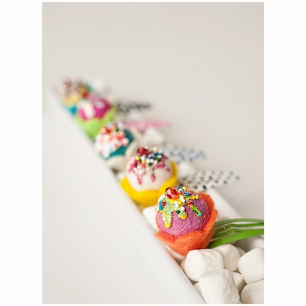 Mini Felt Kauai Cupcake Clips Set