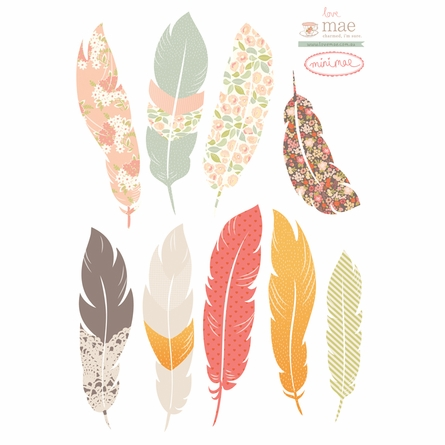 Mini Floating Feathers Fabric Wall Decals