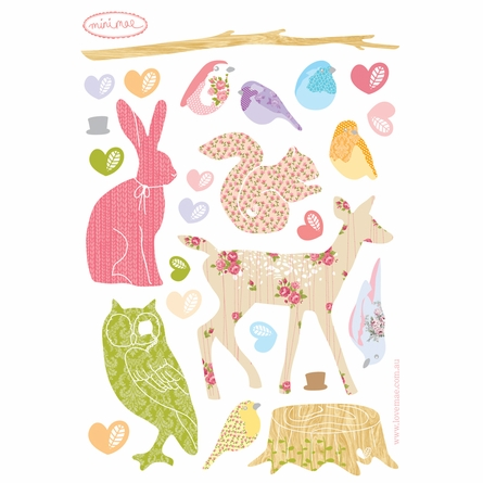 Mini Forest Critters Girly Fabric Wall Decals