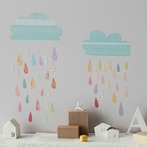 Mini Summer Rain Fabric Wall Decals