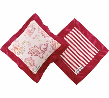 Mini Travel Blanket and Pillow Set in Fuchsia Paisley