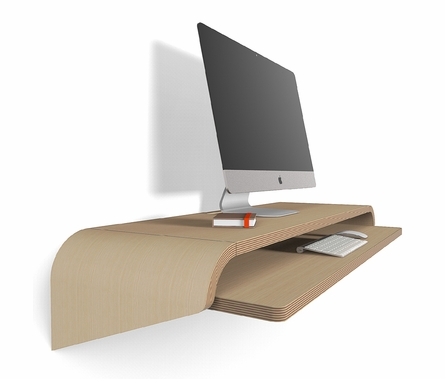 Minimal Float Wall Desk in Rift Oak