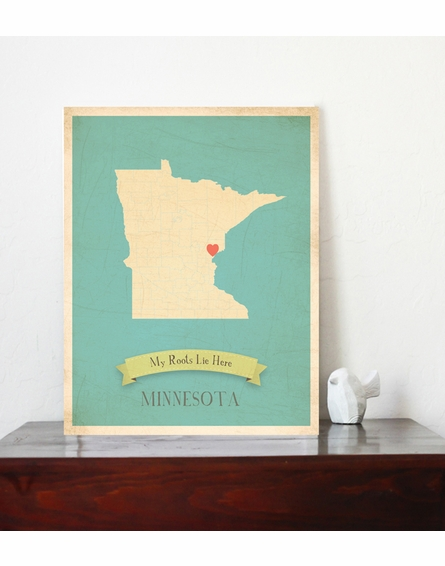 Minnesota My Roots State Map Art Print