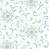 Mint and Blue Medallion Scroll Wallpaper