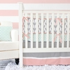 Mint & Coral Arrow Crib Bedding Set