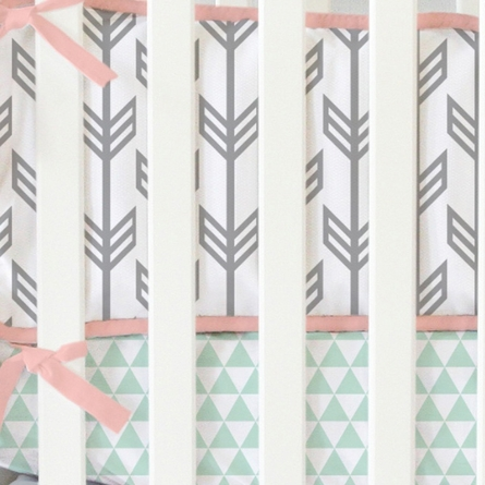 On Sale Mint & Coral Arrow Crib Bedding Set