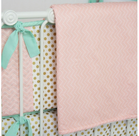 Mint & Coral Chevron Crib Blanket