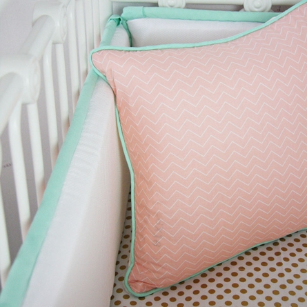 Mint & Coral Chevron Crib Bumper