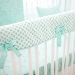 Mint Dot Crib Rail Cover