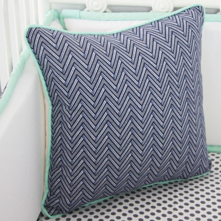 Mint & Navy Chevron Crib Bedding Set