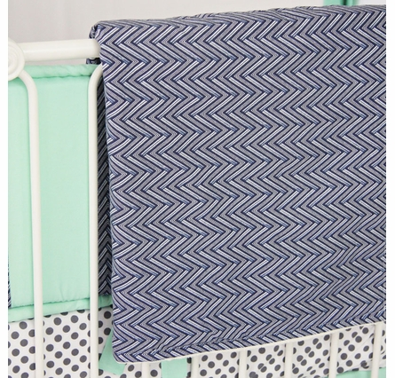 Mint & Navy Chevron Crib Blanket