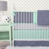 Mint & Navy Chevron Crib Bumper