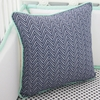 Mint & Navy Chevron Square Pillow Cover