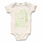 Mint Organic Cotton Framed NYC Motifs Original Print Onesie