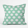 Mintiest Polka Dots Throw Pillow