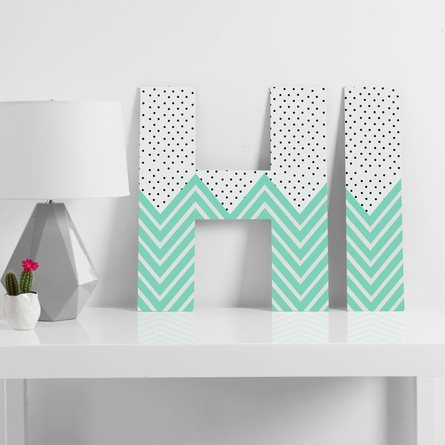 Minty Chevron And Dots Decorative Letters