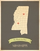 Mississippi My Roots State Map Art Print - Blue