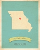 Missouri My Roots State Map Art Print - Blue