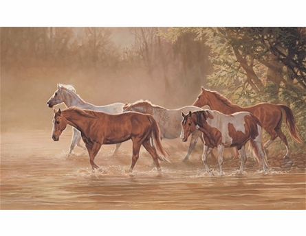 Misty River Wild Horses Chair Rail XL Wall Mural