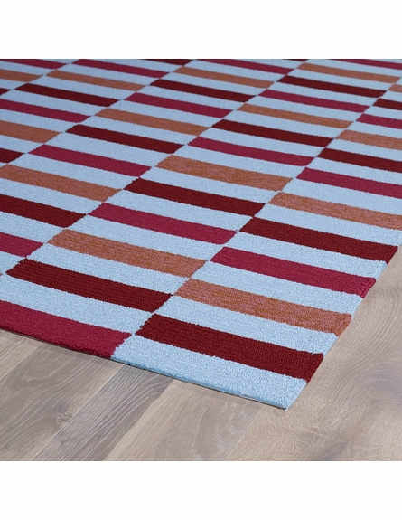 Mixed Stripes Matira Rug in Cranberry
