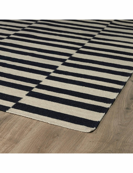 Mixed Stripes Nomad Rug in Black