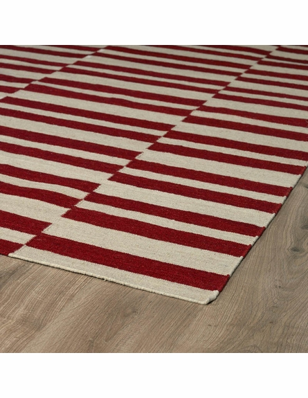 Mixed Stripes Nomad Rug in Red