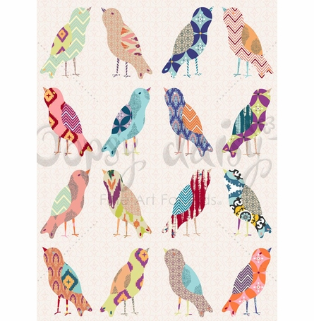 Mixed Up Birds Canvas Wall Art