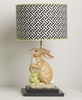 Mod Cabbage Bunny Lamp On Black Base With Black Cross Section Drum Shade
