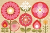Mod Flowers Jumbo Wood Panel Art Print