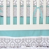 Mod Lattice Crib Bedding Set in Aqua and Gray