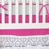 Mod Lattice Crib Bedding Set in Fuchsia and Gray