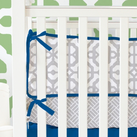 Mod Lattice Crib Bedding Set in Navy
