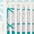 Mod Lattice Crib Bedding Set in Teal and Gray