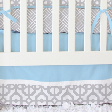 Mod Lattice Crib Bedding Set in Vintage Blue and Gray