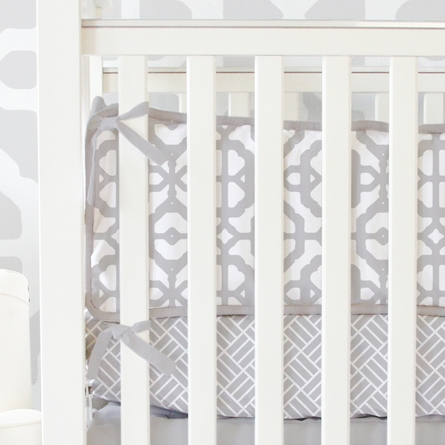 Mod Lattice Crib Bedding Set in Vintage Gray