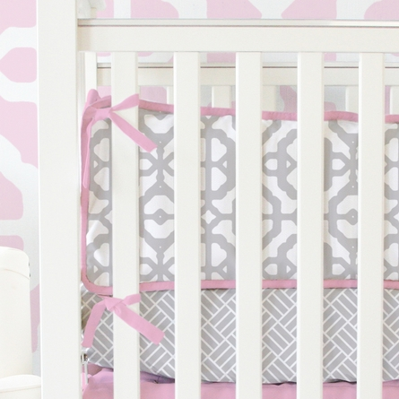 Mod Lattice Crib Bedding Set in Vintage Pink and Gray