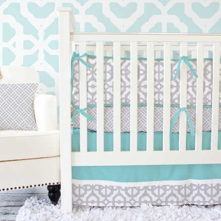 Mod Lattice Crib Bumper in Aqua and Gray