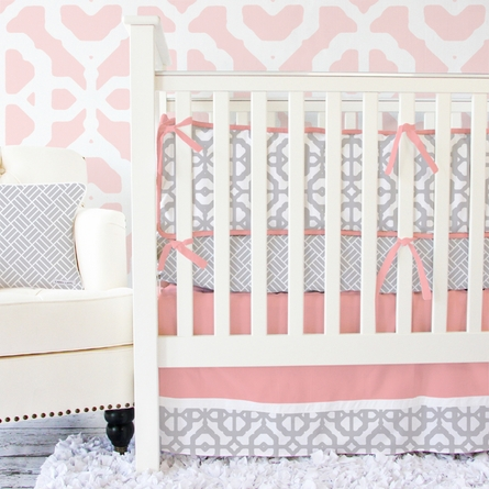 Mod Lattice Crib Bumper in Coral and Gray