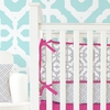 On Sale Mod Lattice Crib Bumper in Fuchsia and Gray