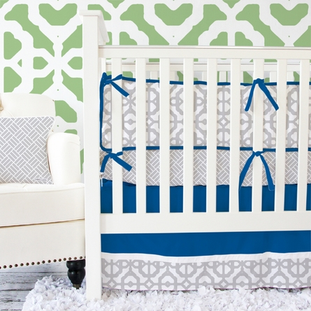 Mod Lattice Crib Bumper in Navy