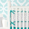 Mod Lattice Crib Bumper in Teal and Gray