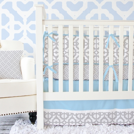 Mod Lattice Crib Bumper in Vintage Blue and Gray