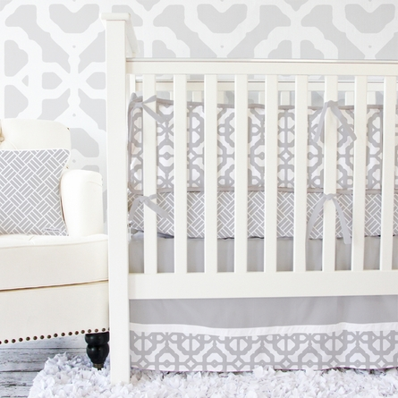 Mod Lattice Crib Bumper in Vintage Gray