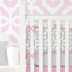 Mod Lattice Crib Bumper in Vintage Pink and Gray