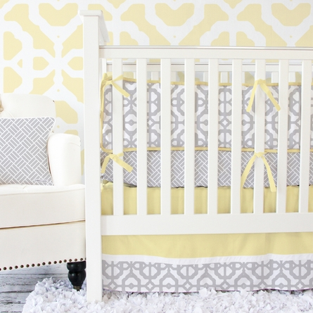 Mod Lattice Crib Bumper in Yellow and Gray