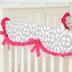 Mod Lattice Crib Rail Cover in Fuchsia and Gray